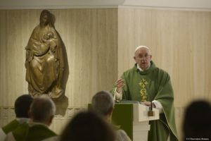Pope Francis delivers the homily as he celebrates Mass in the chapel of the Domus Sanctae Marthae guesthouse at the Vatican Nov. 6. (CNS photo/L'Osservatore Romano, handout) See POPE-HOMILY-MISMANAGEMENT Nov. 6, 2015.